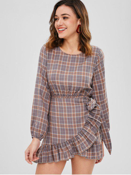 ZAFUL Ruffle Trim Plaid Overlap Dress - Multicolor S