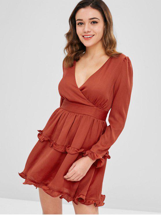 unique ZAFUL Ruffles Plunge A Line Dress - CHERRY RED L