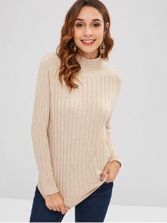 fancy Raglan Sleeve Mock Neck Plain Sweater - LIGHT KHAKI ONE SIZE