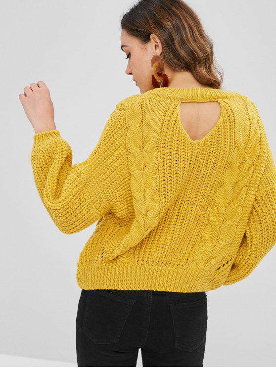 Cut Out Chunky Cable Knit Sweater - Ярко-желтый Один размер
