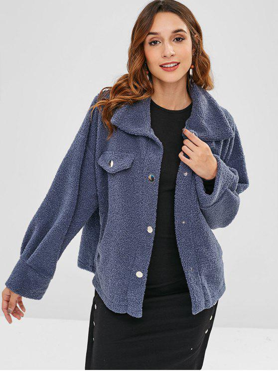 sale ZAFUL Faux Pockets Plain Faux Fur Coat - SLATE BLUE XL