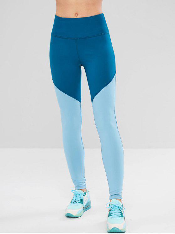 hot ZAFUL Skinny Color Block Workout Leggings - SILK BLUE L