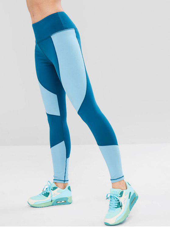 Leggings largos do Gym da cintura do bloco da cor - Seda de Azul S