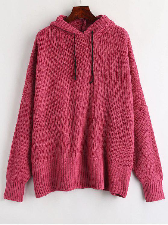 outfit Baggy Hooded Oversized Sweater - ROSE RED ONE SIZE