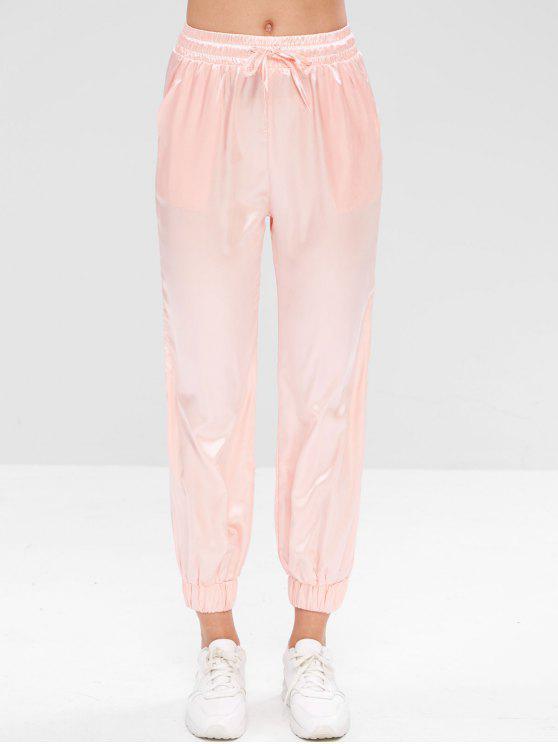 Pantalones de chándal deportivos con cordones de satén - Rosado S