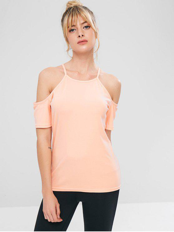 chic ZAFUL Cold Shoulder Sports Gym Tee - PINK S