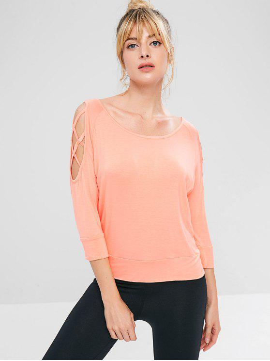 trendy Lattice Cold Shoulder Athletic Tee - ORANGE PINK S