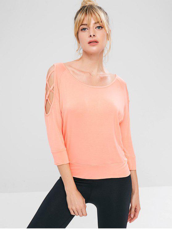 T-shirt Athlétique à Epaule Dénudée en Treillis - Orange Rose L