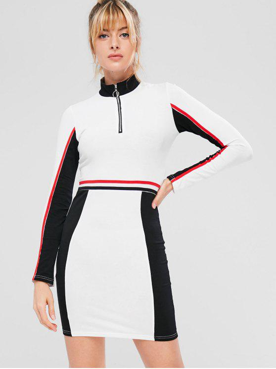 Contrast Zip Color Block Sporty Dress - أبيض L
