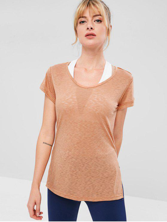 Side Slit Sports V Neck Tee - Salmón Claro S