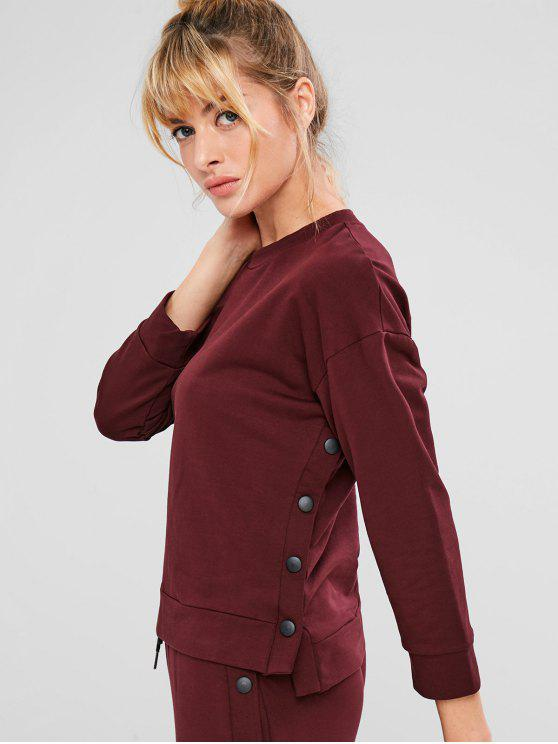 affordable ZAFUL Drop Shoulder High Low Button Sweatshirt - RED WINE L