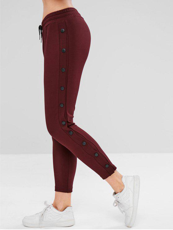 shops ZAFUL Drawstring Button Side Pants - RED WINE M