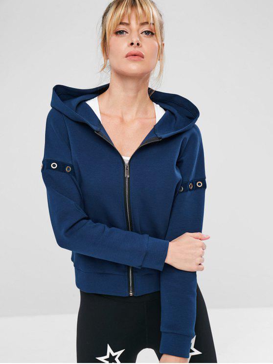 best ZAFUL Eyelet Zipper Drop Shoulder Jacket - CADETBLUE L