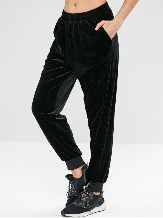 ladies ZAFUL Velvet High Waisted Jogger Pants - BLACK M