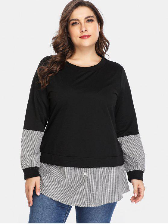 Striped Panels Plus Size Tunic Sweatshirt - أسود 2X