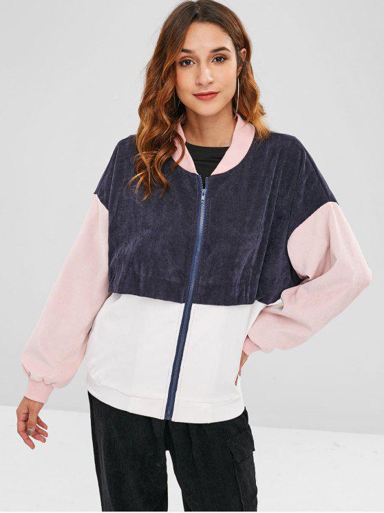 shop ZAFUL Patchwork Corduroy Jacket - MULTI-A M