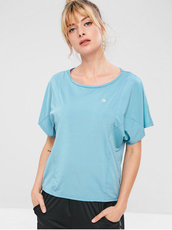 chic ZAFUL Batwing Sleeve T-shirt - BABY BLUE L