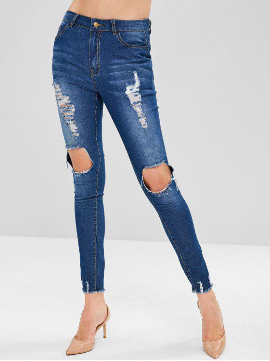 fancy ZAFUL Frayed Destroyed Skinny Jeans - DENIM DARK BLUE S