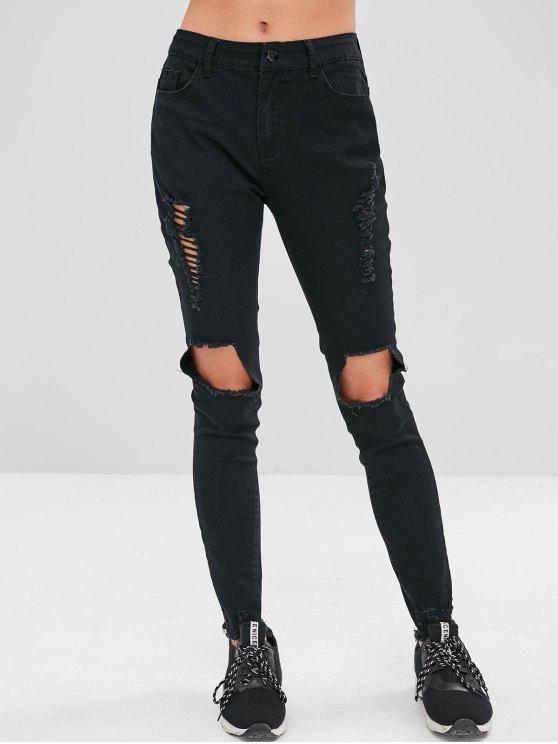 lady ZAFUL Frayed Destroyed Skinny Jeans - BLACK L