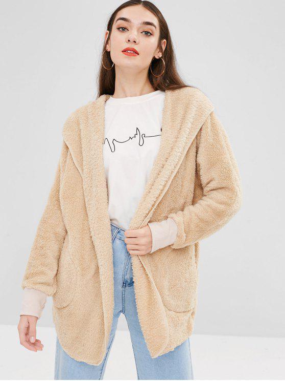 women's Solid Color Hooded Fluffy Teddy Coat - CORNSILK L