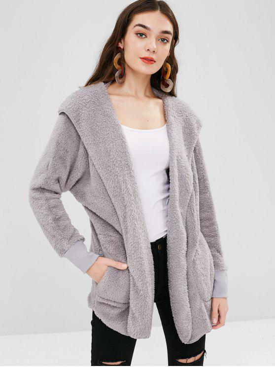 unique Solid Color Hooded Fluffy Teddy Coat - LIGHT GRAY S