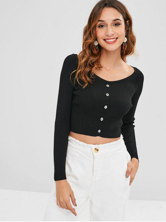 chic Buttons Embellished Crop Knitted Top - BLACK S