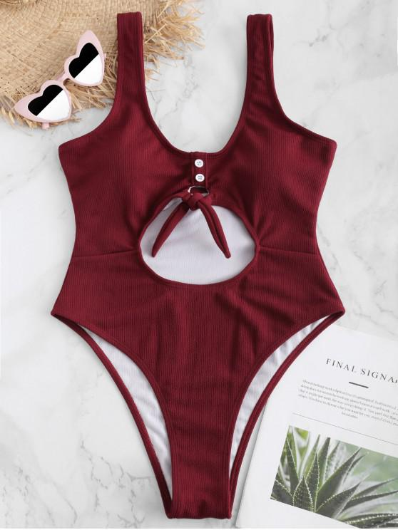 ZAFUL com nervuras botão embelezado Swimsuit fechadura - Vinho Tinto L