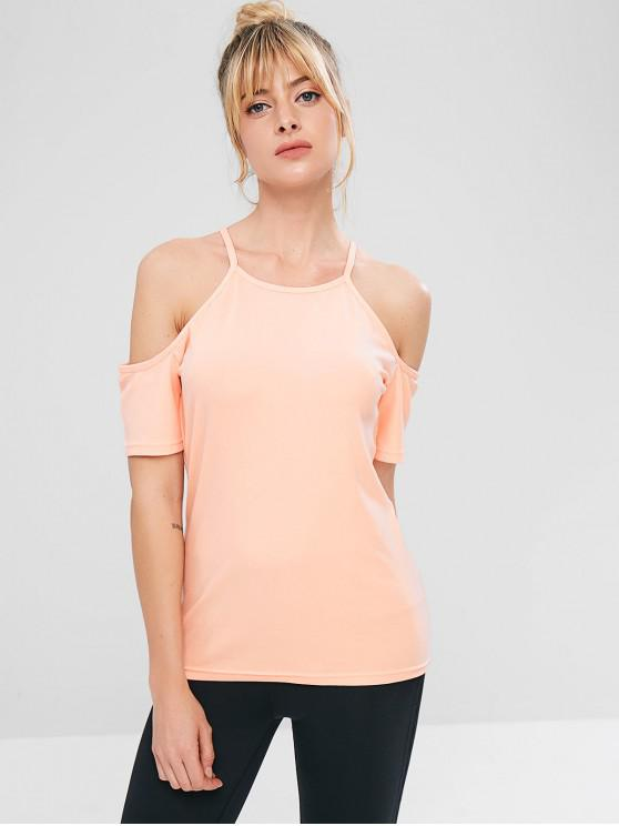 ZAFUL Cold Shoulder Sports Gym Tee - Rosado S