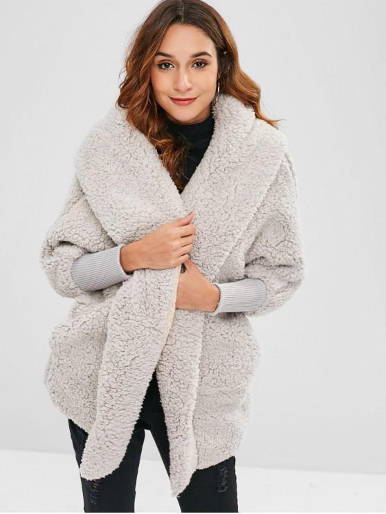 Manteau d'Hiver Surdimensionné Fourré - Gris Clair Taille Unique