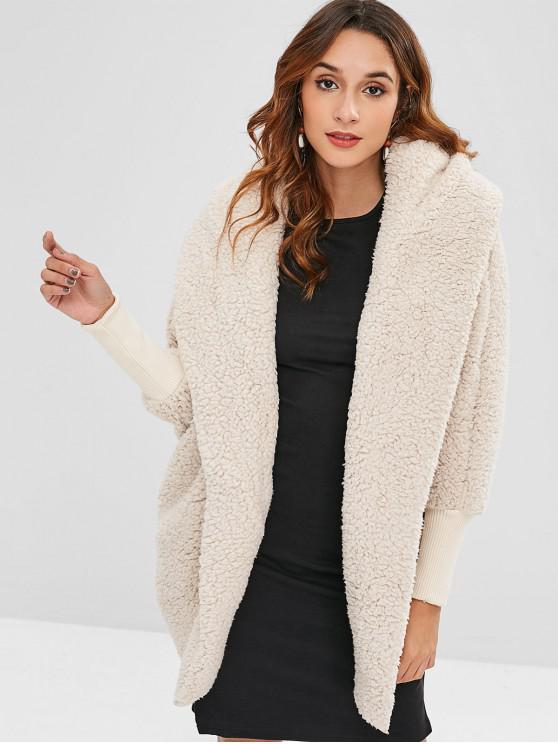 buy Oversized Fluffy Teddy Winter Coat - BEIGE ONE SIZE