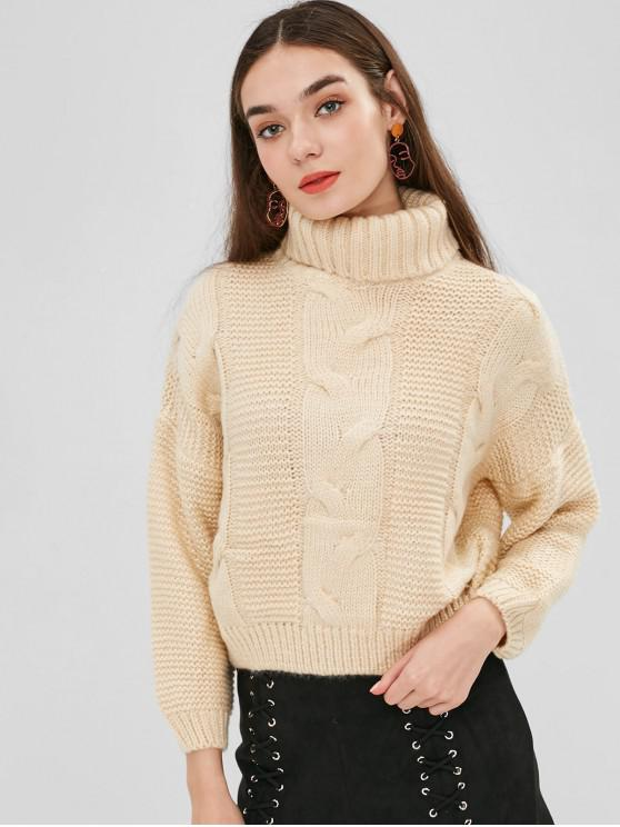 lady Drop Shoulder Cable Knit Turtleneck Sweater - CORNSILK ONE SIZE