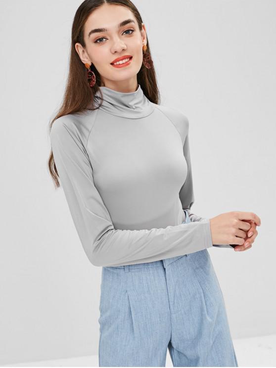 Botão snap de gola alta no gusset bodysuit - Cinza claro L
