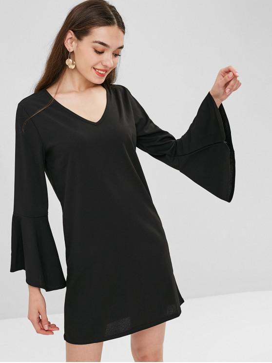 best Flared Cuffs Tunic Dress - BLACK L