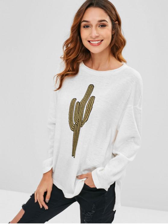 53c8c39a8b 52% OFF] 2019 ZAFUL Tricot Graphique Cactus Haut Bas Dans Blanc ...