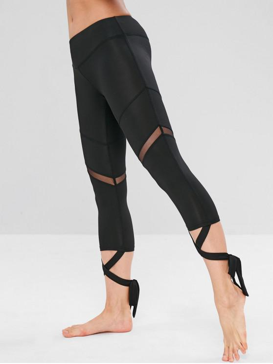 womens Sports Mesh Panel Cross Tied Crop Leggings - BLACK M