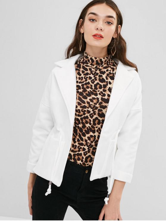 chic Lapel Patch Pockets Faux Wool Coat - WHITE M