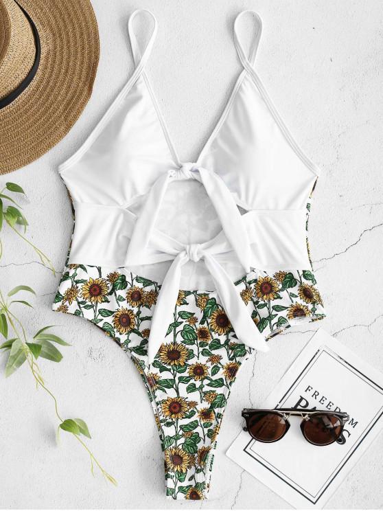 trendy ZAFUL Sunflower Tied Backless Swimsuit - WHITE M