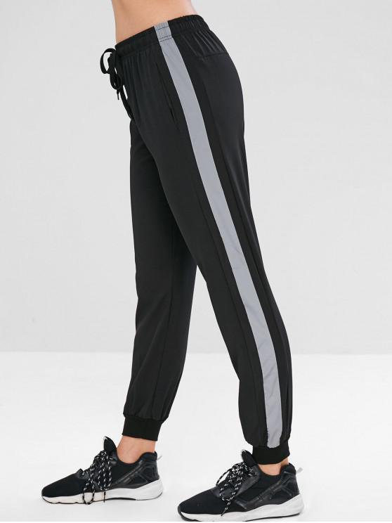 fancy Reflective Side Drawstring Jogger Pants - BLACK M