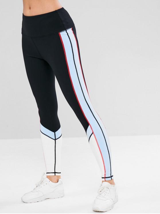 latest ZAFUL Color Block Inner Pocket Sports Leggings - BLACK M