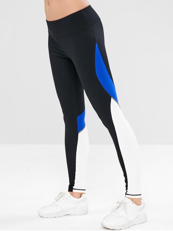 chic ZAFUL Color Block Back Zipper Pocket Leggings - BLACK M