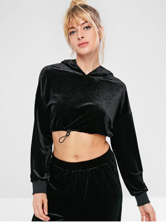 buy ZAFUL Velvet Drop Shoulder Crop Hoodie - BLACK L