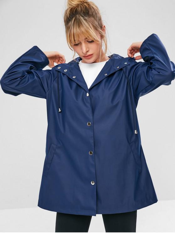 shops ZAFUL Snap Button Hooded Raincoat - CADETBLUE S
