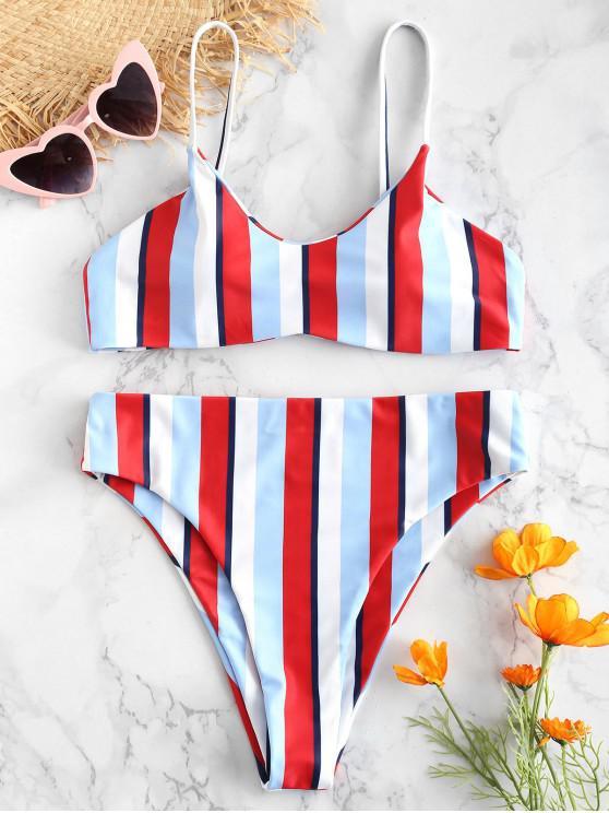 affordable ZAFUL Cami Striped Bikini Set - MULTI-A S
