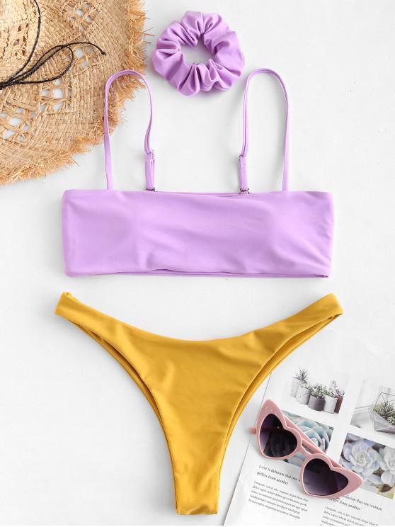 affordable ZAFUL Two Tone Contrast Bikini Set - MAUVE L