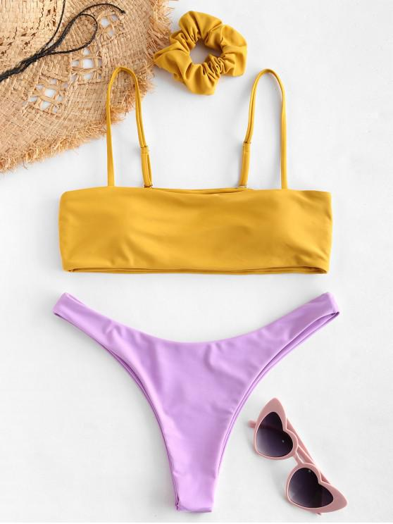 unique ZAFUL Two Tone Contrast Bikini Set - ORANGE GOLD L