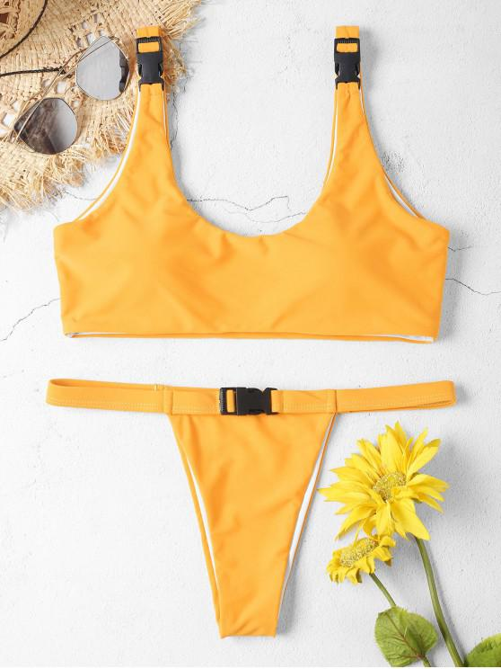 sale ZAFUL Buckle Tank Bikini Set - BRIGHT YELLOW L