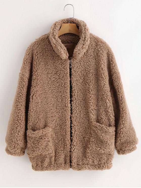 women Fluffy Faux Fur Winter Teddy Coat - CAMEL BROWN S