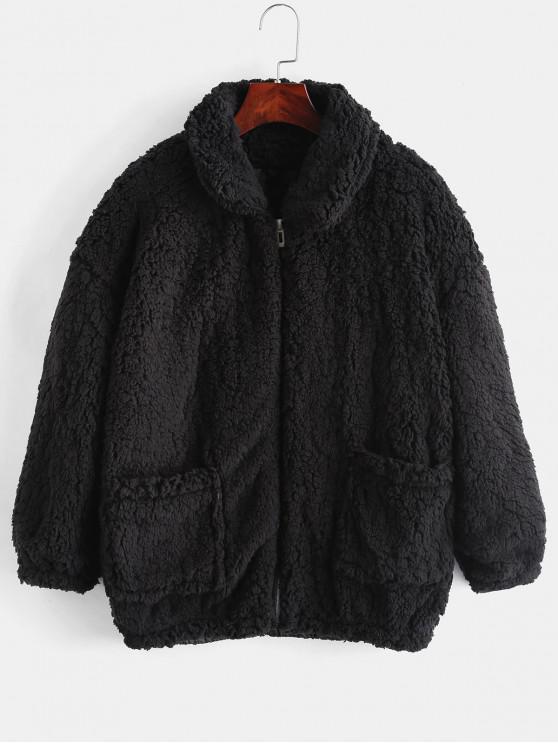 buy Fluffy Faux Fur Winter Teddy Coat - BLACK M