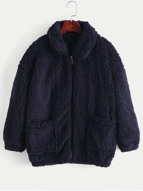 outfit Fluffy Faux Fur Winter Teddy Coat - CADETBLUE L