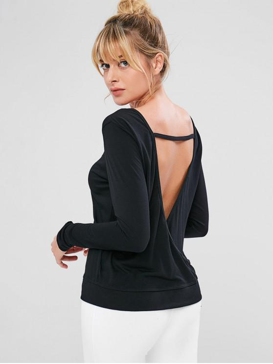 women Long Sleeve Open Back Sports Tee - BLACK S